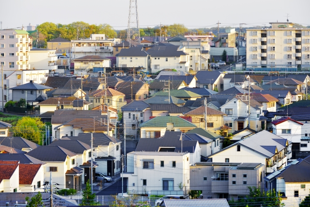都心の住宅密集地区の風景
