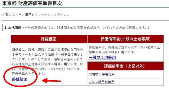 路線価図平成28年度版の東京都