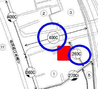 路線価400Cと260Cに接する角地