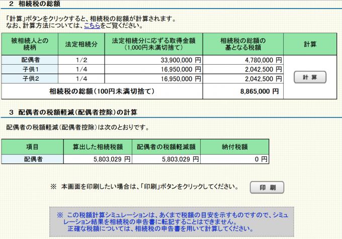 相続税の総額と配偶者の税額軽減の計算