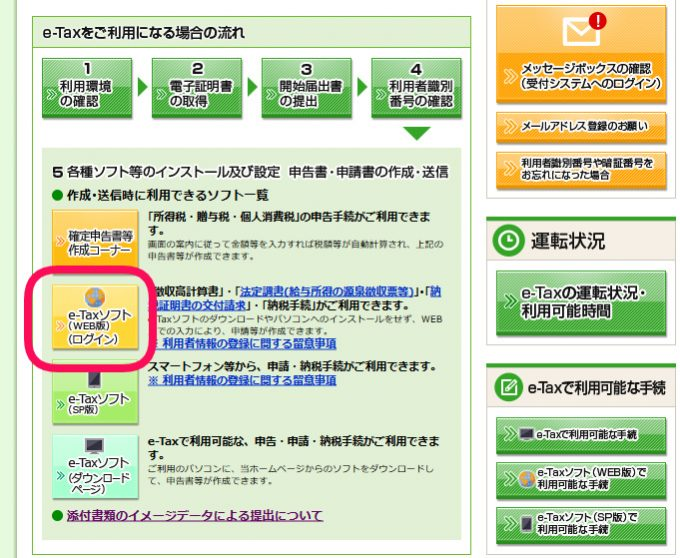 e-taxソフト(WEB版)のログイン場所