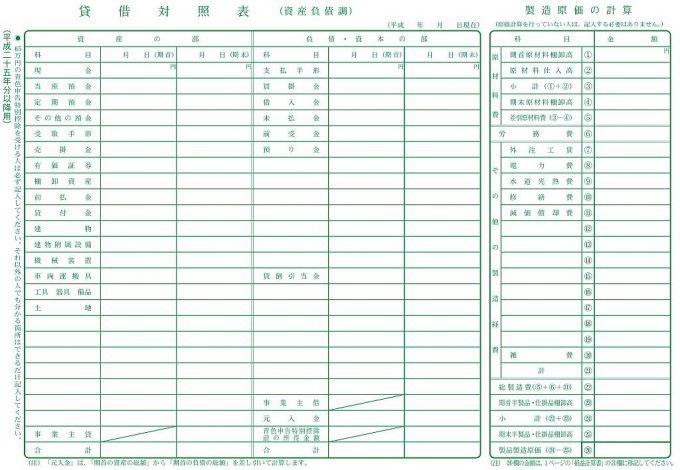 青色申告の貸借対照表