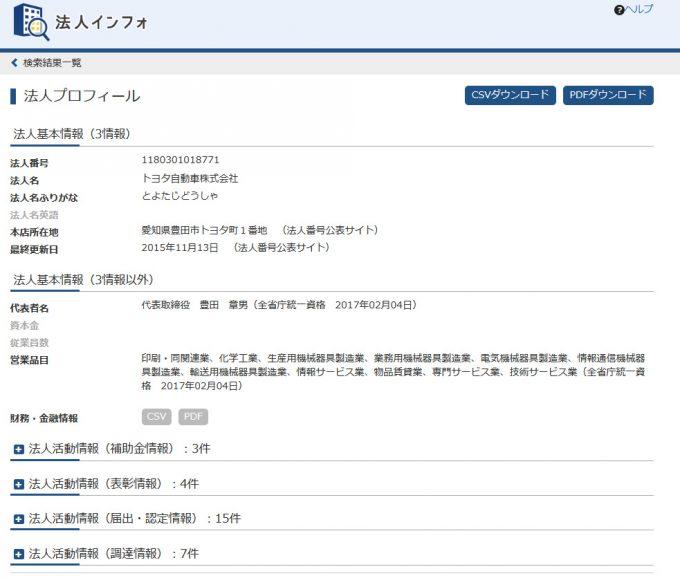 法人インフォメーションの利用画面6