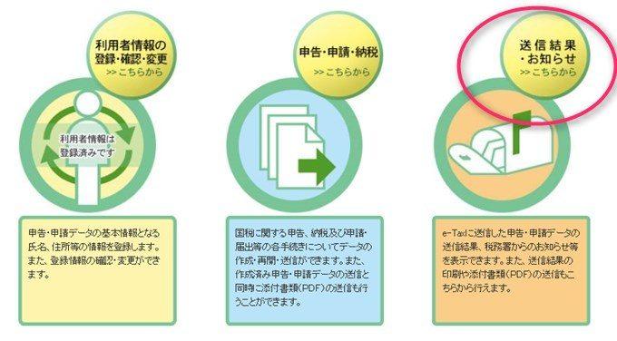e-taxソフトWEB版のメッセージボックス