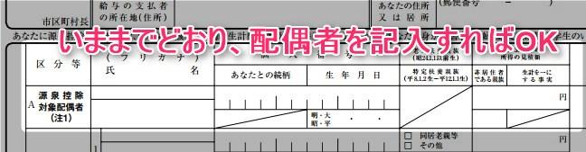 源泉控除対象配偶者の記入方法